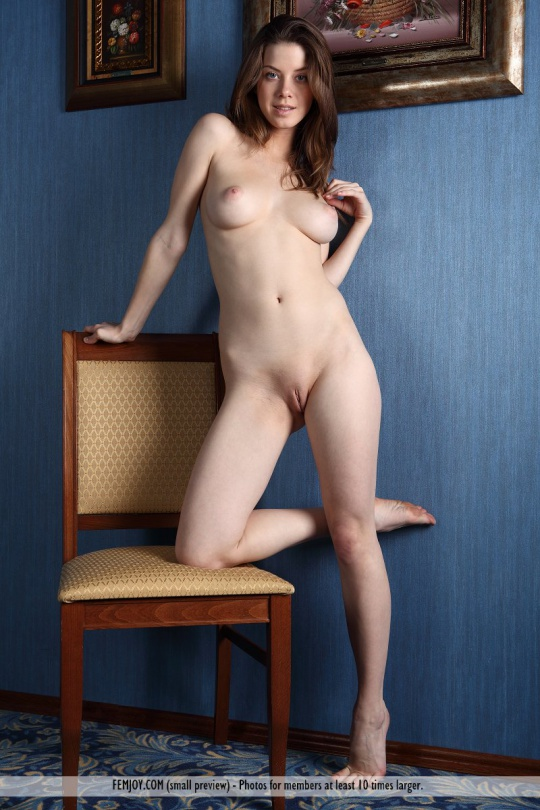 Brunette chair nude