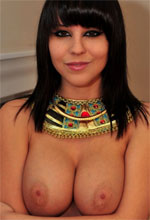 Bryci - busty brunette babe Bryci strips like an egyptian