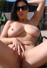 Jelena Jensen - Jelena Jensen spreads her legs apart to show that nice hairy pussy of hers