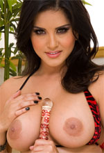 Sunny Leone - Gorgeous Sunny Leone pleasuring her huge tits and tight pussy with huge crystal dildo